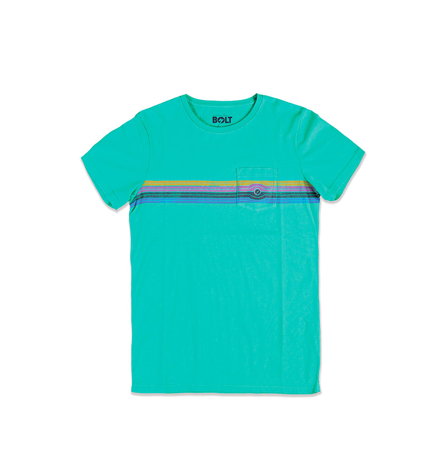 T-shirt Lightning Bolt® Eyed Stripe | Verde com Riscas