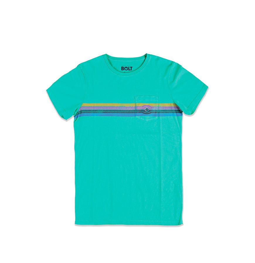 T-shirt Lightning Bolt® Eyed Stripe   Verde com Riscas