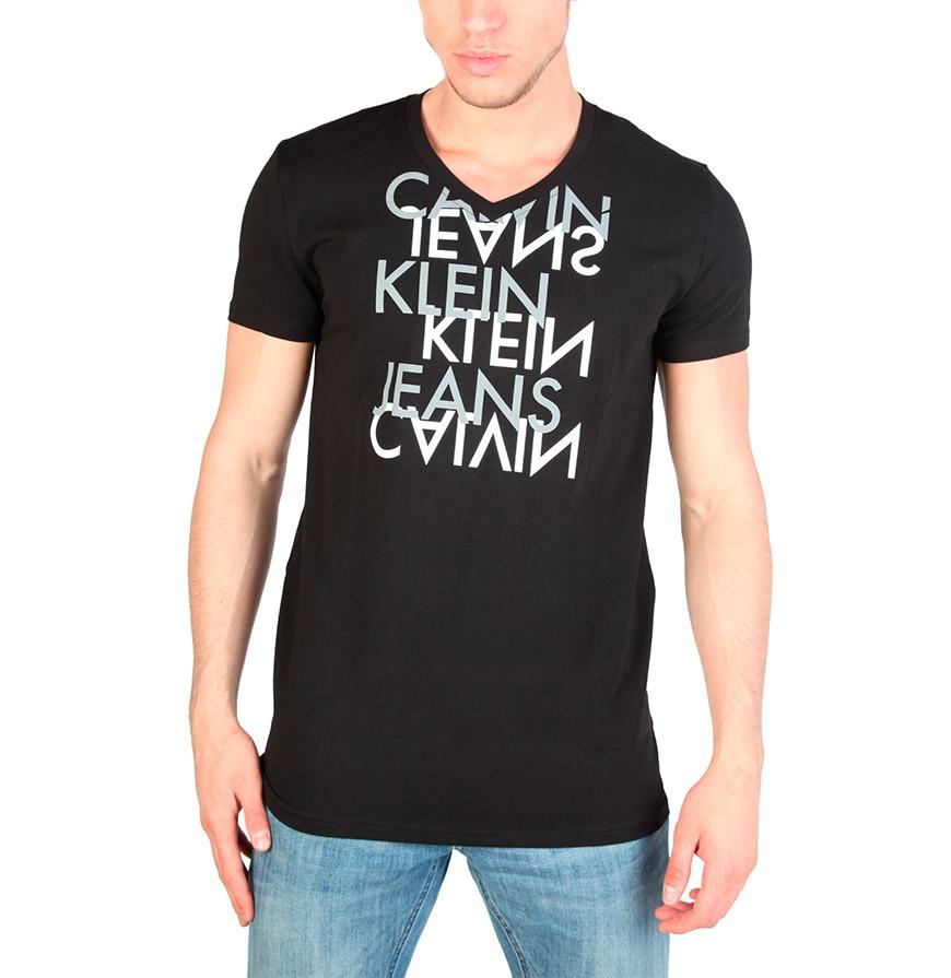T-Shirt Gola em Bico Calvin Klein® |  Preto