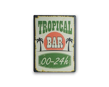 Placa de Metal Retro | Tropical Bar