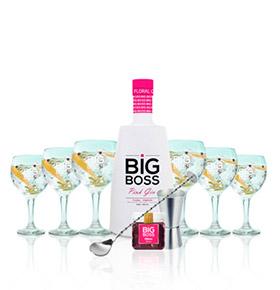 Gin Big Boss Pink® | 6 Copos & 4 Acessórios