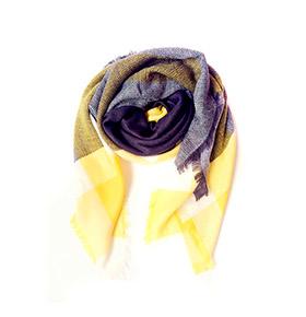 Echarpe Padrão Xadrez | Cinzento e Amarelo