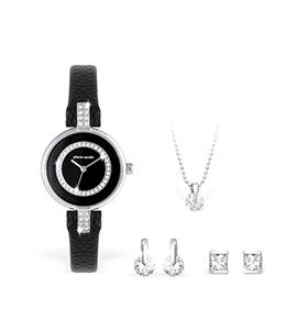 Conjunto Pierre Cardin® Relógio, Colar e Brincos | Preto