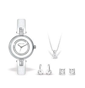 Conjunto Pierre Cardin® Relógio, Colar e Brincos | Branco