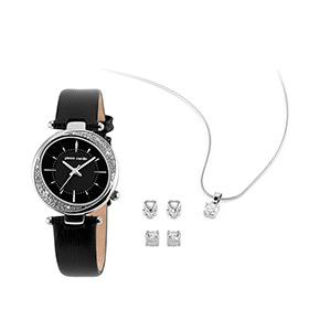 Conjunto Pierre Cardin® Relógio, Colar e Brincos | Preto com Brilhantes