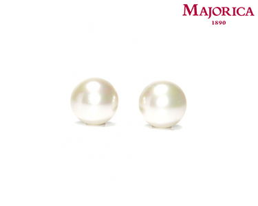 Brincos Majorica® Mabé com Pérola Pequena Branca