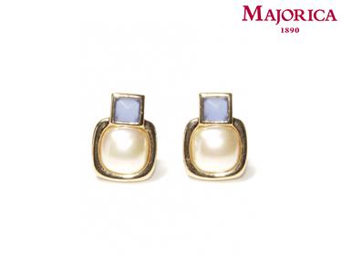 Brincos Majorica® Pérola com Pedra Azul Quadrada
