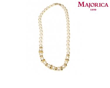 Colar Majorica® com Pérolas e Chapas Douradas