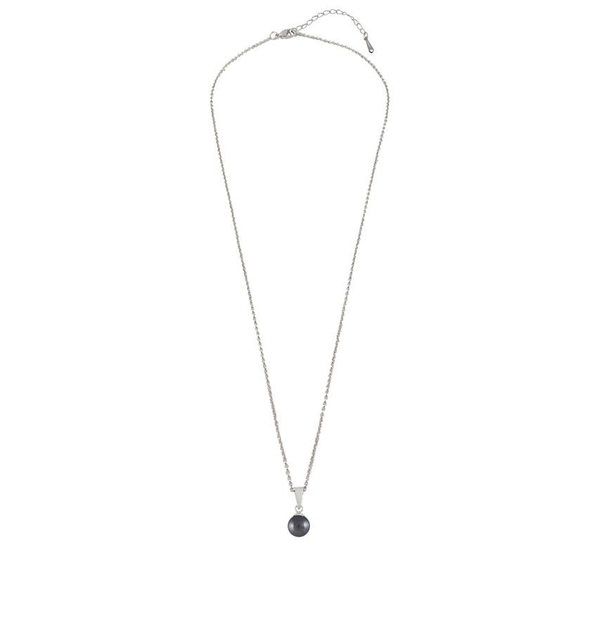 Colar Pérola Preta Prata de Lei c/ Swarovski Elements®