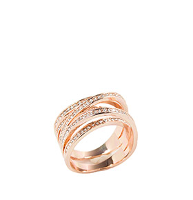 Anel Twist com Cristais Swarovski Elements® | Rosa Dourado