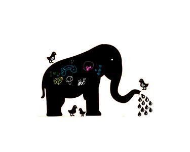 Vinil Ardósia Elephant & Birds
