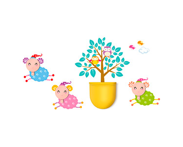 Vinil Decorativo com 3 Cabides e Recipiente Sheep And Co