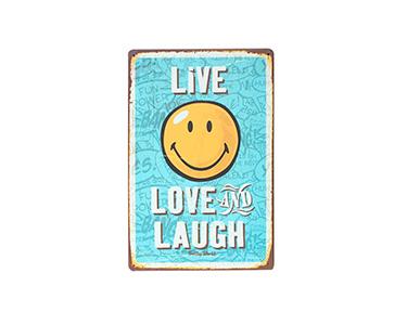 Quadro de Metal Vintage Live Love Lauch 20X30