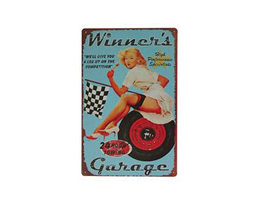 Quadro de Metal Vintage Winners Garage 20X30