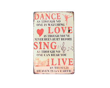 Quadro de Metal Vintage Dance Love 20X30