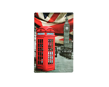 Quadro de Metal Vintage Red Kiosk 20X30