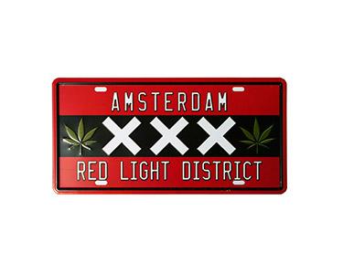 Quadro de Metal Vintage Red Light District 15x30