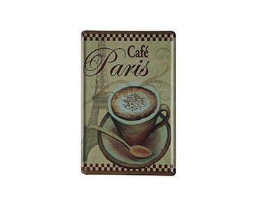 Quadro de Metal Vintage Cafe Paris 20X30