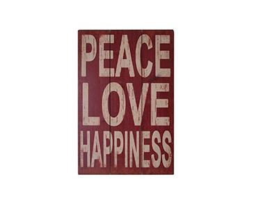 Quadro de Madeira Peace Love Happiness 60X40