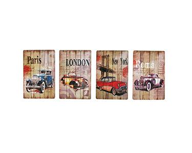 Quadro 4 Peças de Madeira Vintage Cars 30X40