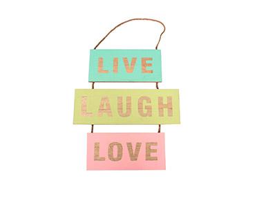 Quadro de Madeira   Live, Laugh e Love
