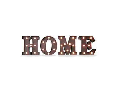 Iluminação Metálica Decorativa Letras Home