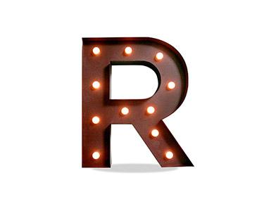Iluminação Metálica Decorativa | Letra R