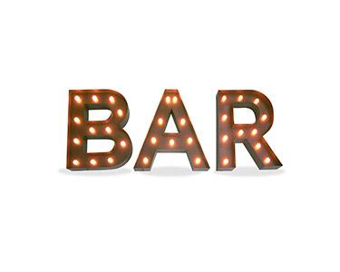 Iluminação Metálica Decorativa Letras Bar