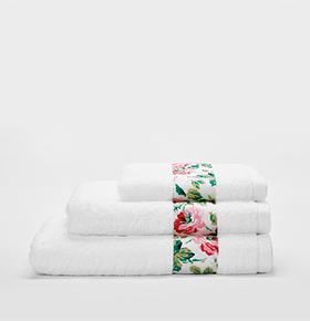 Conjunto 6 Toalhas Catherine Lansfield® So Soft | Branco & Rosas
