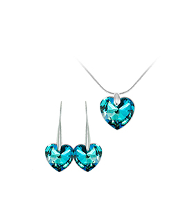 Conjunto Brincos & Colar So Charm® com Cristais Swarovski® | Coração Azul