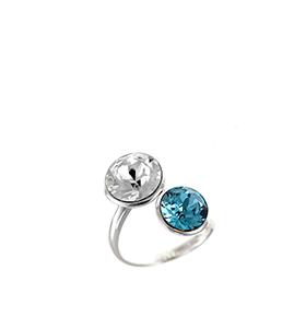 Anel So Charm® com Cristais Swarovski® | Azul e Translúcido