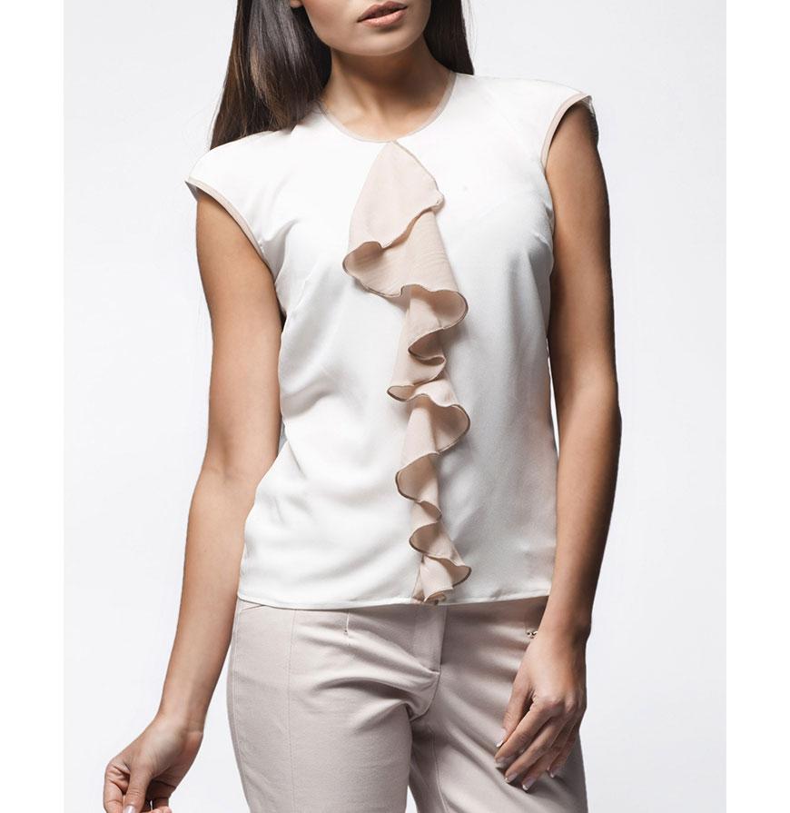 Blusa Awama® A25 | Branco e Bege