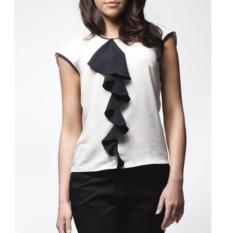 Blusa Awama® A25   Branco e Preto