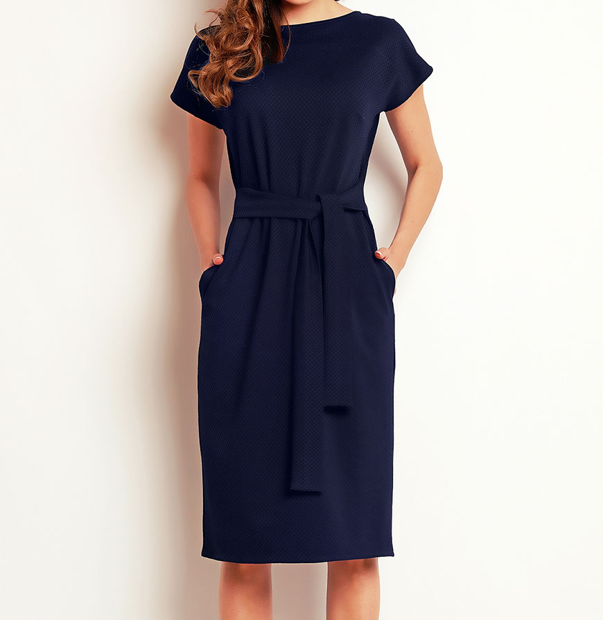 Vestidos Awama® A142   Azul Marinho