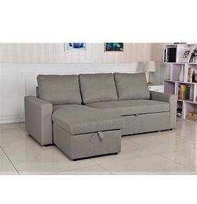 Sofá com Chaise-Longue e Arrumação | Cinzento