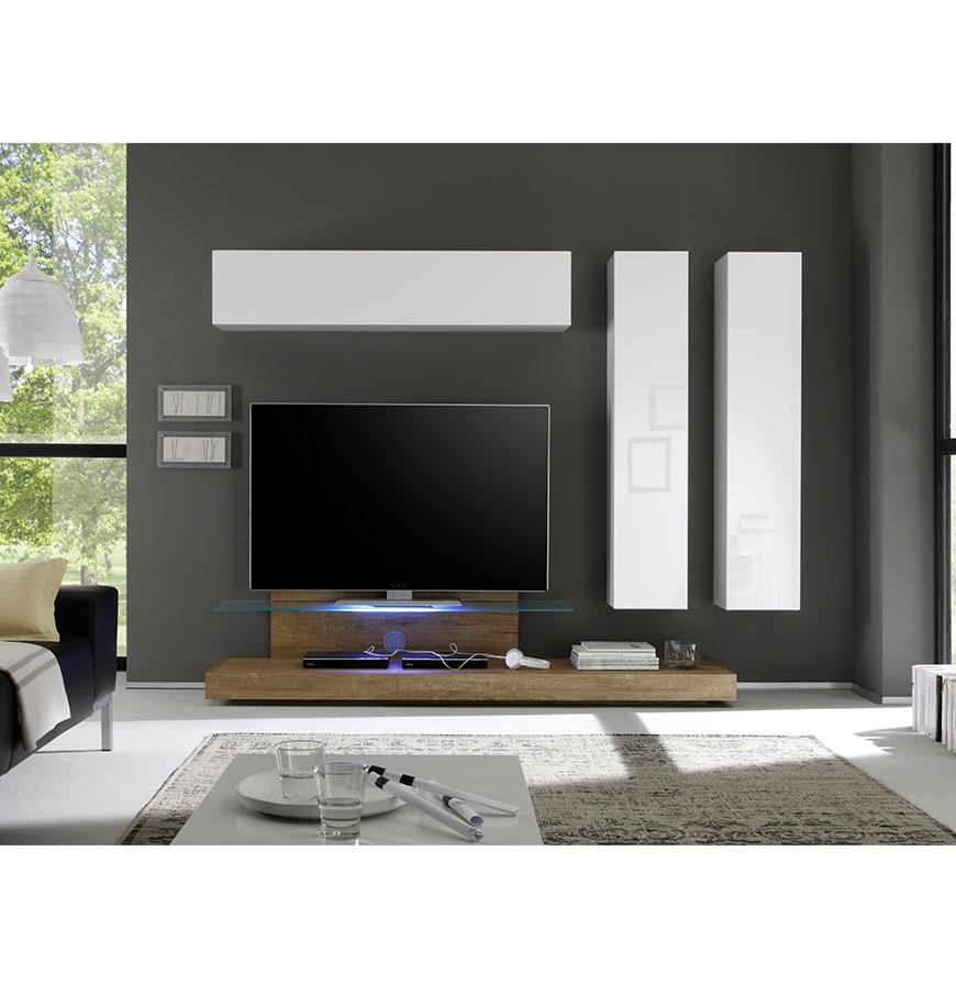 Móvel TV c/ Colunas Suspensas Living Cube | Mel & Branco Brilhante