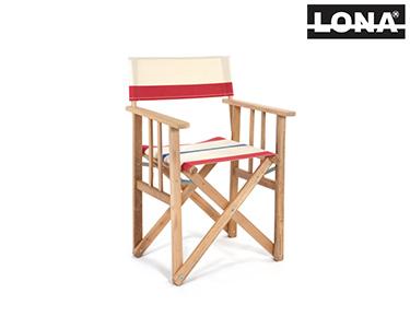 Cadeira Realizador c/ Riscas | Vermelho e Bege