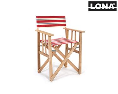 Cadeira Realizador c/ Riscas | Vermelho e Azul