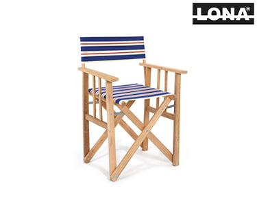 Cadeira Realizador c/ Riscas   Azul e Bege