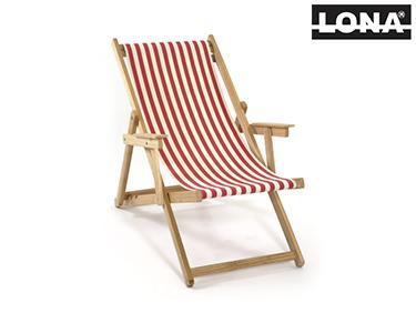 Cadeira de Descanso c/ Riscas e Braços | Vermelho