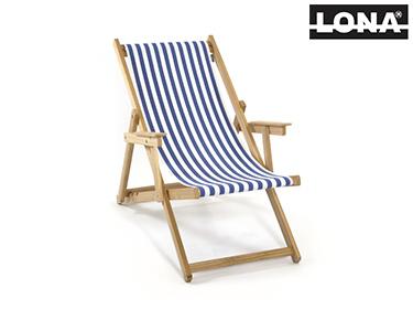 Cadeira de Descanso c/ Riscas e Braços | Azul
