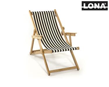 Cadeira de Descanso c/ Riscas e Braços | Preto