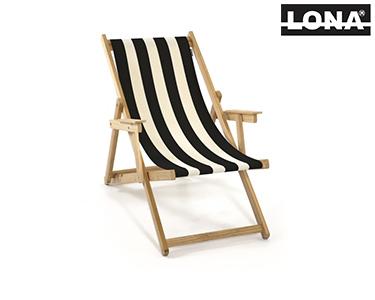 Cadeira de Descanso c/ Riscas e Braços | Castanho