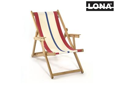Cadeira de Descanso c/ Riscas e Braços | Vermelho e Bege
