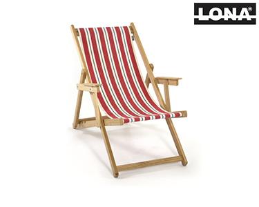 Cadeira de Descanso c/ Riscas e Braços | Vermelho e Azul