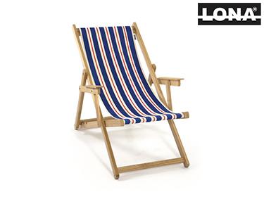 Cadeira de Descanso c/ Riscas e Braços | Azul e Bege