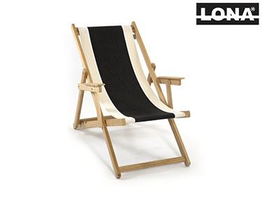 Cadeira de Descanso c/ Riscas e Braços | Preto e Bege