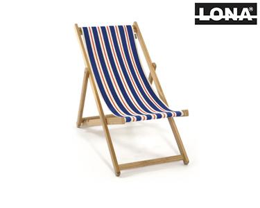 Cadeira de Descanso c/ Riscas   Azul e Bege
