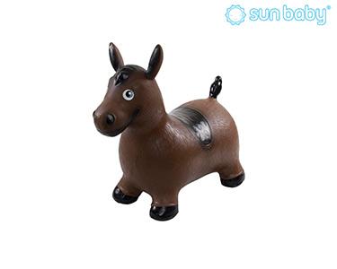 Cavalo Saltitante Insuflável | Castanho e Preto