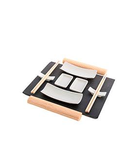 Conjunto para Sushi c/ Bandeja de Ardósia | 11 Peças